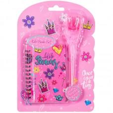 Записная книжка А7 48л Little princess на гребне + ручка шарик. с помпоном, подар.уп.