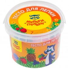 Тесто для лепки Мульти-Пульти Енот на каникулах, 07 цветов*60г, пластиковое ведро