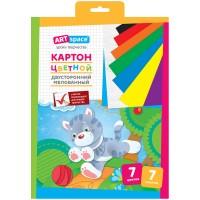 Картон цветной двусторонний A4, ArtSpace, 7л, 7цв, мелованный, в папке