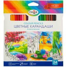 Цветные карандаши 24 цв. Гамма Классические, заточен.