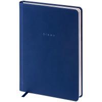 Ежедневник недатир. A5 136л, кожзам, OfficeSpace Grace pearl, синий, серебр.срез