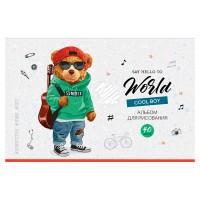 Альбом 40л А4 на скрепке Рисунки. Hipster bear