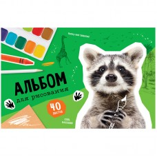 Альбом 40л А4 на скрепке Животные. Cool raccoon