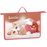 Папка с ручками А4 75мм Sweet cat, пластик, на молнии