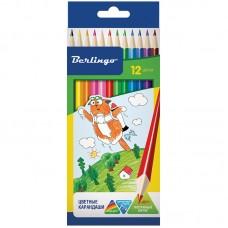 Цветные карандаши 12 цв. Жил-был кот, трехгран., картон. уп.