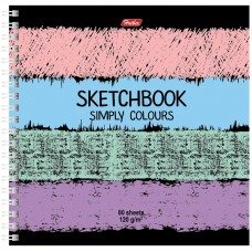 Скетчбук-тетрадь 80л А5 170*170мм на гребне Simply Colours, 120г/м2 без линовки с твердой обложкой