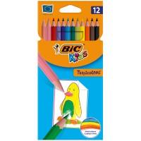 Цветные карандаши 12 цв. Bic Tropicolors2, пластиковые, заточен.