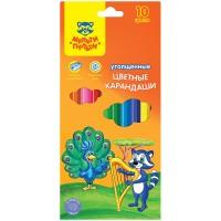 Цветные карандаши 10 цв. утолщенные Мульти-Пульти Енот в саванне, заточен., с точилкой