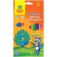 Цветные карандаши 12 цв. утолщенные Мульти-Пульти Енот в саванне, заточен., с точилкой