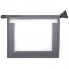 Папка для тетрадей А5 1 отделение, прозрачная/серая, пластик, на молнии