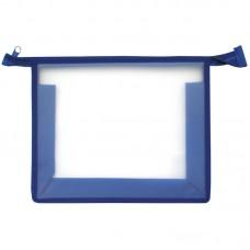 Папка для тетрадей А5 1 отделение прозрачная/синяя, пластик, на молнии