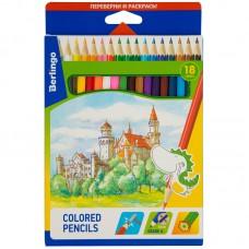 Цветные карандаши 18 цв. Berlingo Замки, заточен., картон. уп.