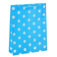 Пакет подар. (средн.) Горох, пластик. 23 х 27 х 8 см, голубой