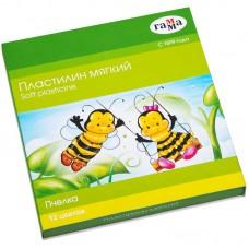 Пластилин 12 цв. Гамма Пчелка, восковой, мягкий, 180г, со стеком