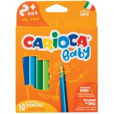 Цветные карандаши 10 цв. пластиковые утолщенные Carioca Baby, трехгран., заточен.