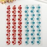 Наклейка пластик стразы Изгибы - цветочки, жемчуг, стразы, 16,5*7 см