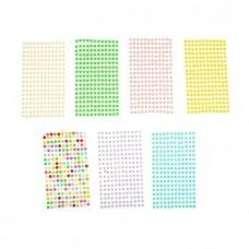 Наклейка Стразы цветные перламутровые, d=0,6 см, МИКС