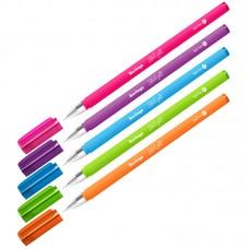Ручка шарик. синяя 0,7мм Berlingo Starlight, игольчатый стержень, прорезиненный корпус ассорти