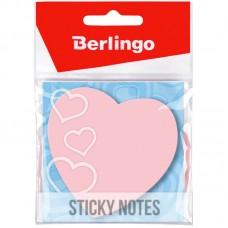 Самоклеящийся блок 70*70мм 50л фигурный Berlingo Сердце, малиновый неон