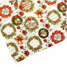 Бумага упаковочная Новогодние украшения, венки, 70 * 100 см