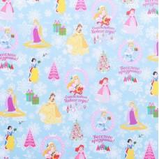 Бумага упаковочная глянцевая Счастливого Нового Года, Принцессы, 70 * 100 см