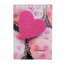 Блокнот А6 48 листов на гребне Розовые сердечки, клетка, картон, блестки