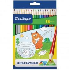 Цветные карандаши 18 цв. Berlingo Жил-был кот, трехгран., заточен.