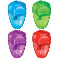 Точилка пластиковая Berlingo Spike, 1 отверстие, контейнер, цвет ассорти