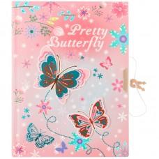 Записная книжка B6 64л. Butterfly, метал. замок