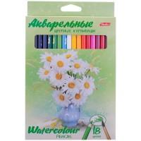 Цветные карандаши акварельные 18 цв. Hatber Букет, заточен.