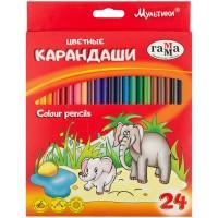 Цветные карандаши 24 цв. Гамма Мультики, трехгранные, заточен.