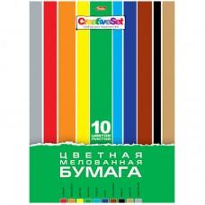 Цветная бумага A4 10л 10 цв. Hatber Creative Set, мелованная, в папке