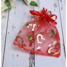 Мешочек подарочный Сердечки 10*12 см, цвет красный с золотом