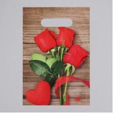 Пакет 20*30 см 30 мкм Свежие розы, п/э с вырубной ручкой