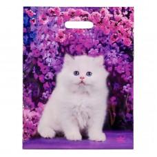 Пакет 31*40 см 60 мкм Милый котик, п/э с вырубной ручкой