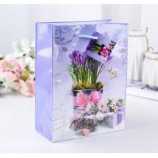Пакет подар. (средн.) Весенние цветы, ламинированный 18 х 23 х 8,5 см