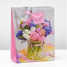 Пакет подар. (средн.) Букет цветов, ламинированный, 18 х 23 х 8,5 см