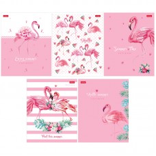Тетрадь 48л клетка Hatber Розовый фламинго, матовая ламинация