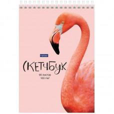 Скетчбук-блокнот 80л А5 Hatber Фламинго, на гребне, 100г/м2