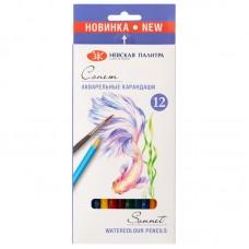 Цветные карандаши акварельные 12 цв. Сонет, заточен.