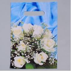 Пакет 20*30 см 35 мкм Букет белых роз, п/э с вырубной ручкой