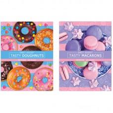 Блокнот А5 64л ЛАЙТ BG Печеньки-пончики, матовая ламинация, блестки