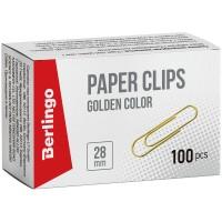 Скрепки 28мм, Berlingo, 100шт., золотистые, карт. упак.