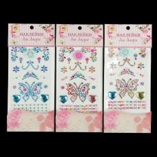 Наклейка пластик стразы Бабочка, цветы 22,5*10 см