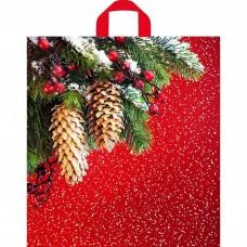 Пакет 40*43 см 35 мкм Шишки на красном, п/э с петлевой ручкой