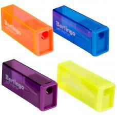 Точилка пластиковая Berlingo NeonBox, 1 отверстие, контейнер, цвет ассорти