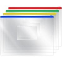 Папка-конверт на молнии А5 OfficeSpace, 120мкм, прозрачная