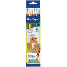 Цветные карандаши 06 цв. Жил-был кот, трехгран., картон. уп.